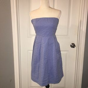 J. Crew Strapless Fit Flare Dress Textured POCKETS